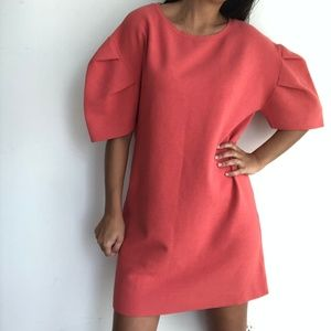 Zara Coral Puff Sleeve Oversize Sweater Dress  S